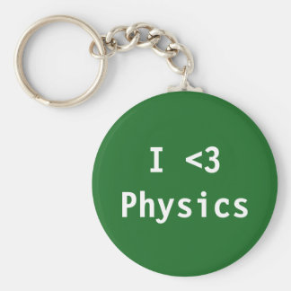 I Love Physics Basic Round Button Key Ring