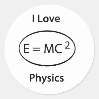 I love physics classic round sticker
