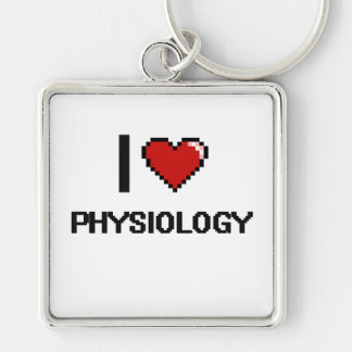 I Love Physiology Digital Design Silver-Colored Square Key Ring