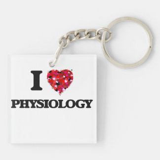 I Love Physiology Double-Sided Square Acrylic Key Ring