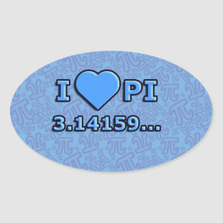 I LOVE PI - BLUE MODEL OVAL STICKER