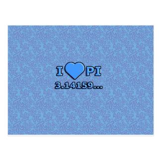 I LOVE PI - BLUE MODEL POSTCARD
