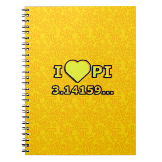 I LOVE PI - YELLOW MODEL SPIRAL NOTEBOOK