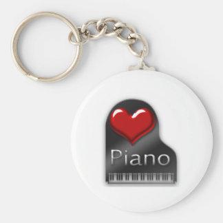 I Love Piano Basic Round Button Key Ring