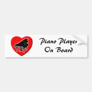 I Love Piano Bumper Sticker