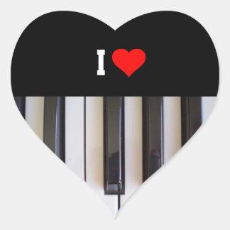 I Love Piano Heart Sticker