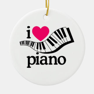 I Love Piano/Keyboard Christmas Ornament