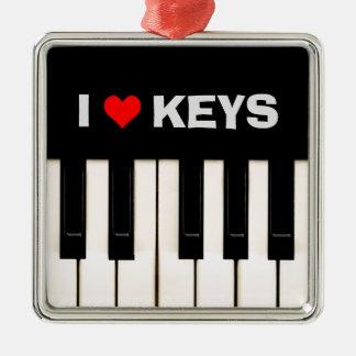 I love Piano Keys Christmas Ornament
