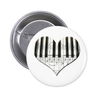 I Love Piano or Organ Music Heart Keyboard 6 Cm Round Badge