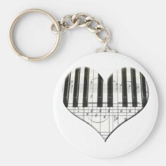 I Love Piano or Organ Music Heart Keyboard Basic Round Button Key Ring
