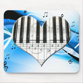 I Love Piano or Organ Music Heart Keyboard Mouse Pad