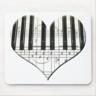 I Love Piano or Organ Music Heart Keyboard Mouse Pad