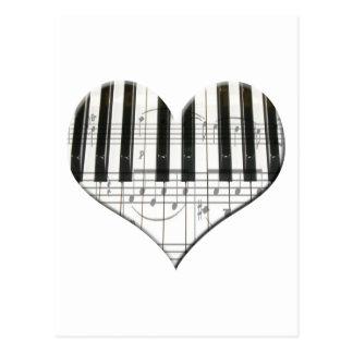 I Love Piano or Organ Music Heart Keyboard Postcard