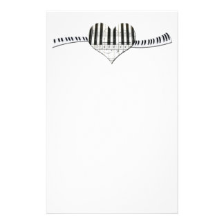 I Love Piano or Organ Music Heart Keyboard Stationery Paper
