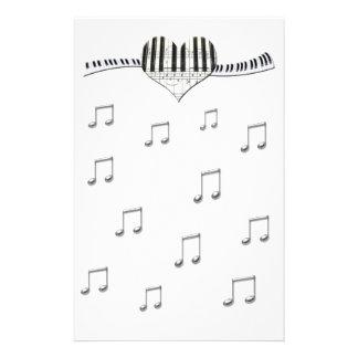 I Love Piano or Organ Music Heart Keyboard Stationery Design