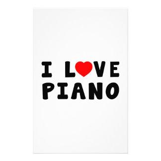 I Love Piano Stationery Paper