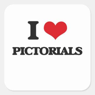 I Love Pictorials Square Stickers