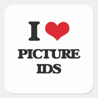 I Love Picture Ids Square Sticker