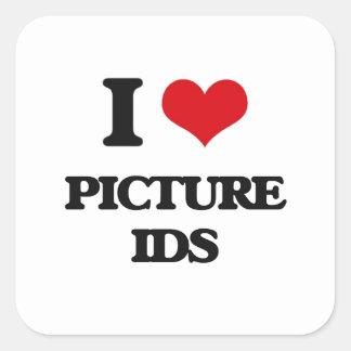 I Love Picture Ids Square Stickers