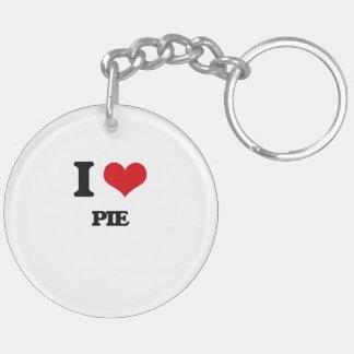I Love Pie Double-Sided Round Acrylic Key Ring