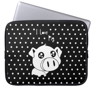 I love pig quote laptop sleeve