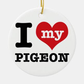 I Love pigeon Round Ceramic Decoration