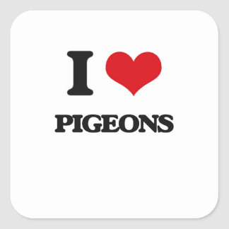I love Pigeons Square Sticker