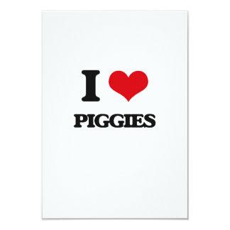 "I Love Piggies 3.5"" X 5"" Invitation Card"