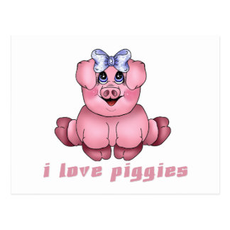 I Love Piggies Postcard