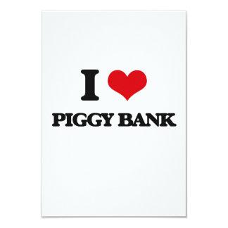 "I Love Piggy Bank 3.5"" X 5"" Invitation Card"