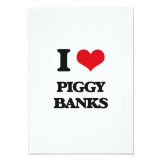 "I love Piggy Banks 5"" X 7"" Invitation Card"