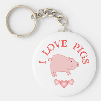 I Love Pigs Basic Round Button Key Ring