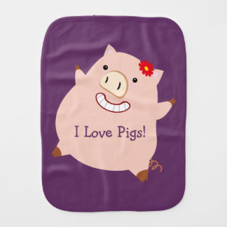 I Love Pigs (customizable pretty pig) Burp Cloths