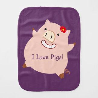 I Love Pigs (customizable pretty pig) Burp Cloths