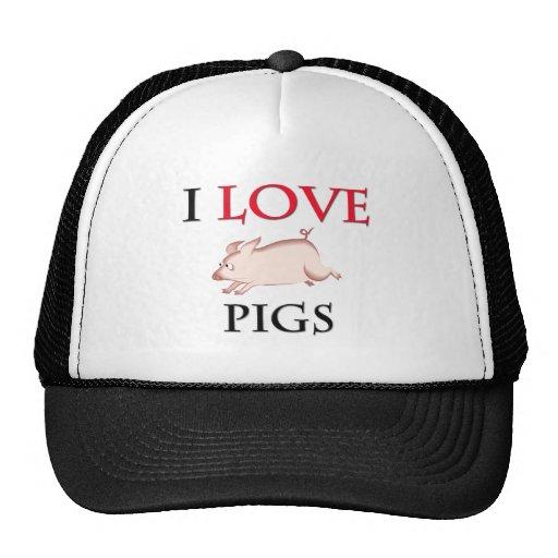 I Love Pigs Mesh Hats