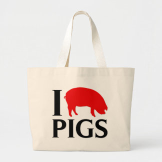 I Love Pigs Large Tote Bag