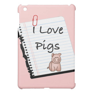 I Love Pigs (notebook page) Cover For The iPad Mini