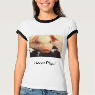 I Love Pigs! Piglet Pig Adorable Face Snout T-Shirt