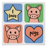 I Love Pigs Poster