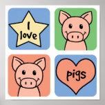 I Love Pigs Print