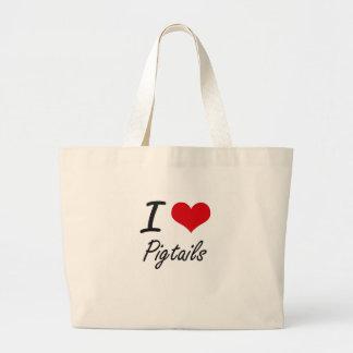 I Love Pigtails Jumbo Tote Bag