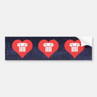 I Love Pillars Design Bumper Sticker