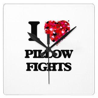 I love Pillow Fights Wall Clocks