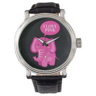 I love pink elephant watch