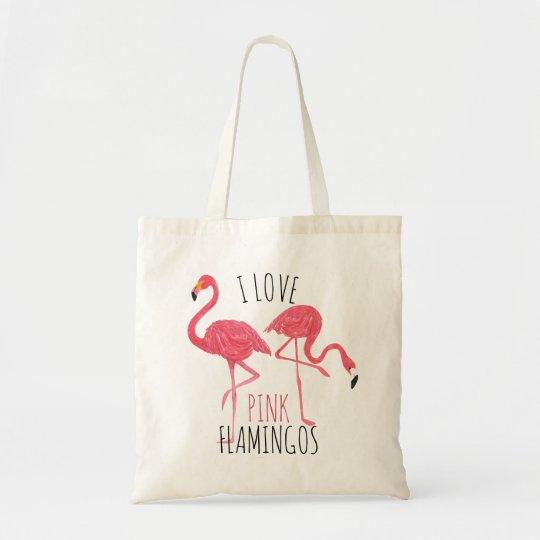 I Love Pink Flamingos Text & Birds Illustration