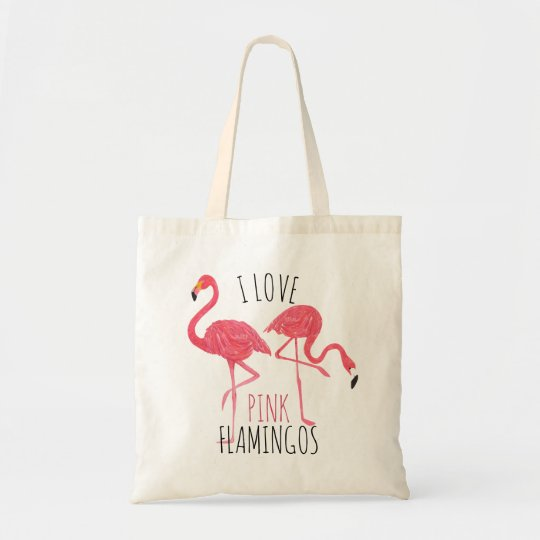 I Love Pink Flamingos Text & Birds Illustration