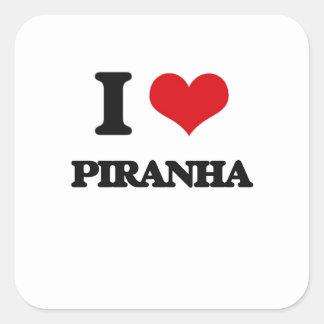 I love Piranha Square Sticker