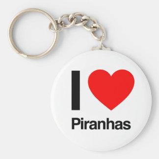 i love piranhas basic round button key ring