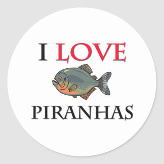 I Love Piranhas Round Stickers