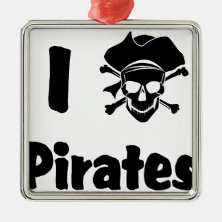 I Love Pirates Christmas Ornament